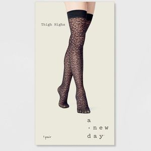 a new day Accessories - NWT A New Day Black Leopard Print Thigh Highs